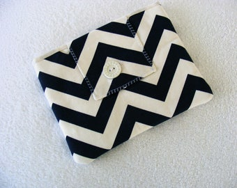 "Kindle Fire / IPad Mini / Nook Cover / Sleeve / Case, Navy and White Chevron, 7 3/4""x 6 1/2"""