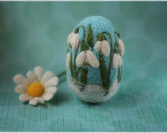 Needle felted Easter snowdrops egg,  wool felted Easter egg, wool snowdrops decor, egg felting, snowdrops egg decor, Easter egg from wool