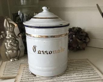 Antique XXL storage jar, brown sugar, enamel, shabby