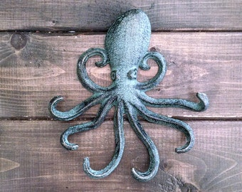 Octopus Hook | Jewelry Hook | Beach Hook | Coastal Hook | Cast Iron Hook