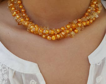925 Yellow Orange Colored  Pearl and Glass Beaded Necklace