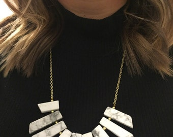 White Marble Slab Statement Necklace