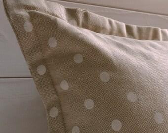 White polka dot decorative pillow, pillow, throw pillows, decorative pillow, pillow neutrals