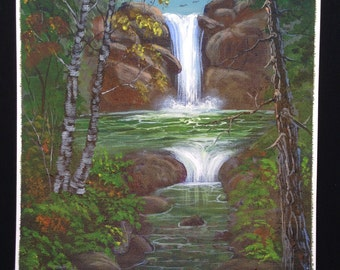 Original Hand Painted Acrylic Painting Out Door Scenery Landscape Waterfall Woods