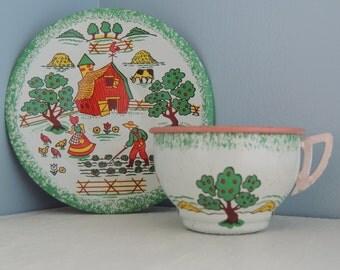 Vintage Tin Toy, Vintage Ohio Art, Vintage Children Size Tin Cup and Saucer Set, Apple Farm, Litho, Tin Toy, 1950's, Cup and Saucer set