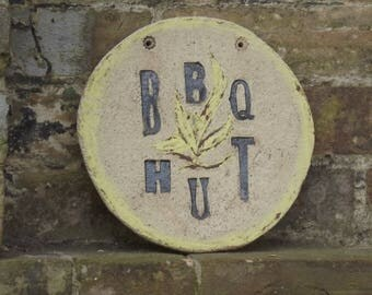 Stoneware garden plaque, Ceramic plaque, House sign, Bespoke plaque, Name plaque, Round plaque, House name,