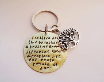 Families are like branches on a tree; we grow in different directions yet our roots remain as one.Hand stamped Keychain.Personalized gift.
