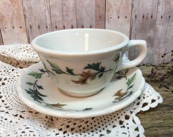 Vintage Syracuse China Teacup Set/Fall Leaves/USA/98-1