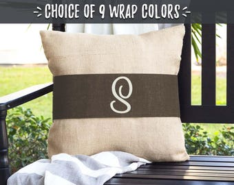 Farmhouse Style Gifts, Monogram Pillows, Burlap Pillow Wrap, Pillow Covers with Brown Accent, Housewarming Gift Ideas for Couple, 508024790