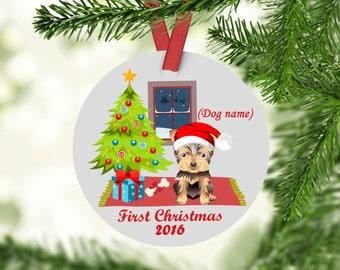 Yorkie Ornament, Morkie Ornament, Yorkie First Christmas Ornament, Yorkie Gift,  Personalized Yorkie Christmas Ornament, Yorkshire Terrier