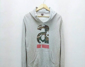 Hot Sale!!! Rare ANDY WARHOL Pop Art Camouflage Big Logo Spell Out Pullover Hoodie Sweatshirt Hip Hop Skate Large Size