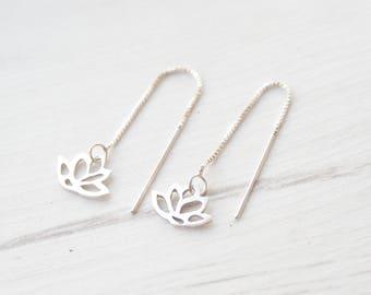 Silver Lotus Ear Threaders - Lotus Earrings - Buddhist Earrings - Spiritual Jewellery - Meditation Jewellery - Yoga Jewellery