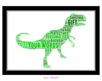 PERSONALISED T Rex Dinosaur Word Art Print Gift Idea Birthday Present Wall Art Home Decor Print Tyrannosaurus Jurassic Park Carnivore Kids