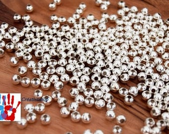 shiny silver beads Intercalaires 100 x smooth bead spacers - metal beads Ø 3 mm / Ø 4 mm / ø5