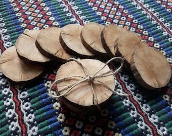 Rustic Peeled Oak Tree Slice Wood Coasters - Set of 4