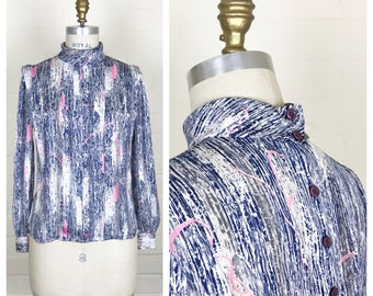 Vintage 80's long sleeve blouse with abstract print. Size medium / pink / blue