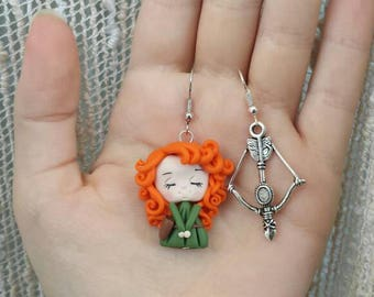 Merida earrings polymer clay fimo disney/The brave Rebel errings