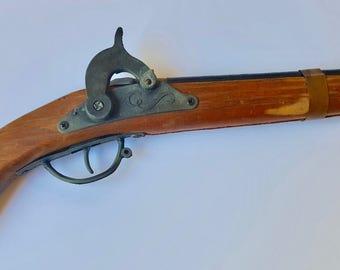 Vintage Antique Wood and Metal Toy Flintlock Cap Gun, Toy Cap Gun, Flintlock Gun Replica, Wood Gun