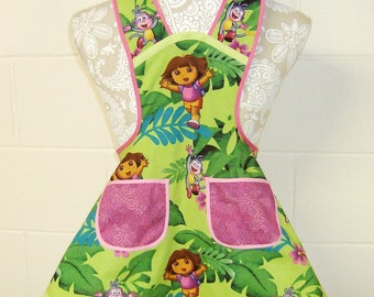 Dora the Explorer / Dora Birthday Party / Nickelodeon - One Hip Explorer Dora Jungle Fun Cotton Apron  / Dora Girls Apron / Girls 3/4 / #B62