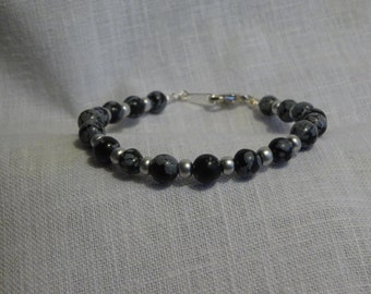 "Snowflake Obsidian Bracelet with Silver glass beads 7.25"". ( SFBO1-16)"