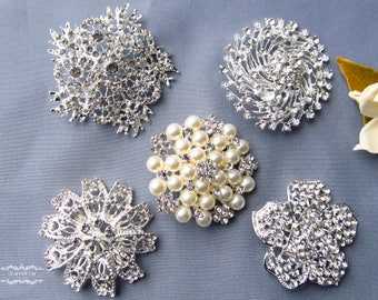 "5 Large Rhinestone Brooch Lot 2"" or Larger Pearl Crystal Button Pin Wedding Bouquet Brooch Bouquet Embellishment Decoration Invitation BR151"