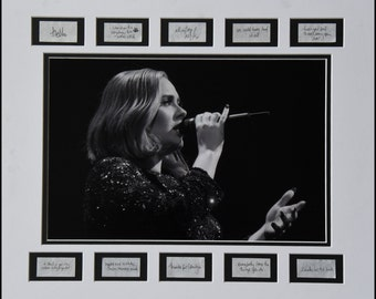 """ADELE """"Eyes Open"""" 2016 Black & White concert photo matted with handwritten song lyrics confetti (Mat/Frame size 16″ x 20″)"""