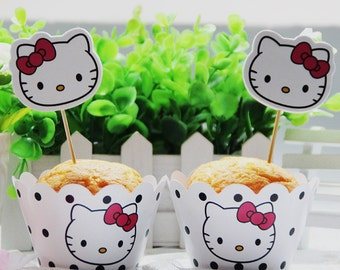 24 pcs/set Hello Kitty Cupcake Wrappers and Toppers
