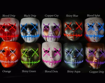 """Light Up Mask """"Custom Painted"""" (Halloween, Cosplay, Rave, Party, Movie)"""