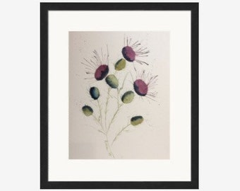 Watercolor thistles purpleabstact wall art.