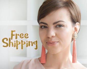 Gift for Her, Peach Earrings, Pink Wedding Earrings, Bridal Jewelry, Tassel Earrings, Bridesmaid Jewelry, Prom Jewelry, Prom Earrings READY