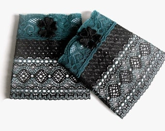 folklore cuffs black teal lace