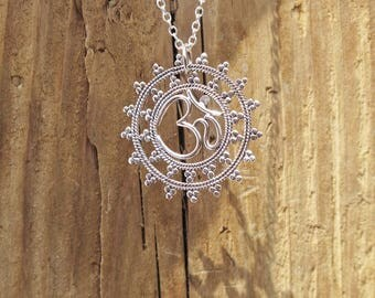 Sterling Silver Mandala Ohm Om Yoga Charm Pendant Necklace Spiritual