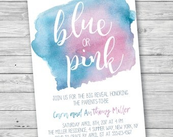 Gender Reveal Party Invitation, Blue or Pink Gender Reveal, Watercolor Gender Reveal Invitation, Printable Gender Reveal Party Invitation