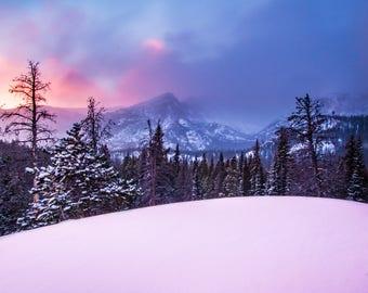Colorado Photography | Rocky Mountain National Park | Longs Peak | Sunrise Photo | Winter | Landscape Photography | Canvas and Print