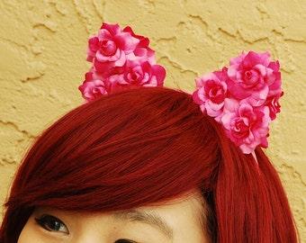 Floral Cat Ear Headband   Flower Kitty Ear Headband -- Magenta