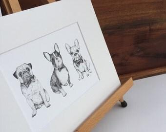 Three Dogs art print - Pug + Boston Terrier + French Bulldog art print - black+white dog illustration- dog drawing print - animal art print