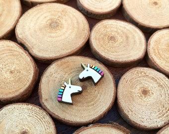 Unicorn wooden stud earrings - unicorn earrings - wooden studs-  unicorn jewelry - unicorn jewellery - animal stud earrings - animal jewelry