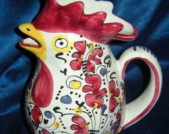 Jug - Rooster hen - vintage - ceramic
