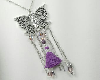 Butterfly Necklace, Big Butterfly Necklace, Silver and Purple Boho Butterfly, Butterfly Jewelry,
