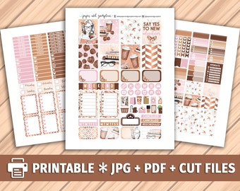 COFFEE & BOOKS Printable Planner Stickers/for use with Erin Condren/Weekly Kit/Silhouette Cutfiles/Rose Gold Marble Books Coffee Blush