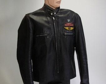 Vintage Motorcycle Jacket, Men's, Medium, Leather, Black