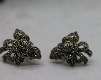 Vintage Judith Jack Sterling Marcasite Flower Bow Earrings