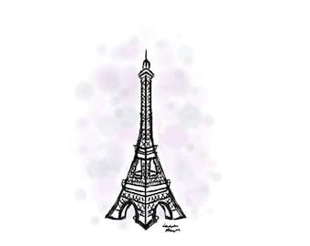 Eiffel Tower Digital Art Print