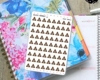 Poop emoji Planner Stickers - Erin Condren Life Planner, Bullet Journal, MulberryPOP Planner, any planner you have