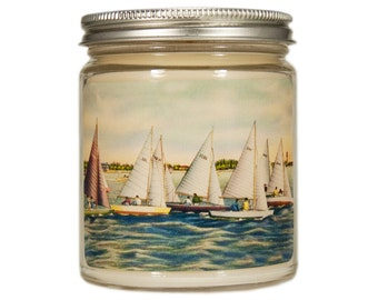 Beach Soy Candle, Custom Scented Candle, Sailboat Candle, Container Candle, Soy Candle, Flamingo Candle, Nautical Candle, Beach House Decor