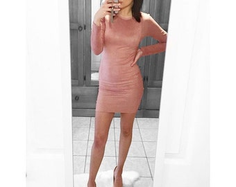 Baby Pink Suede Dress