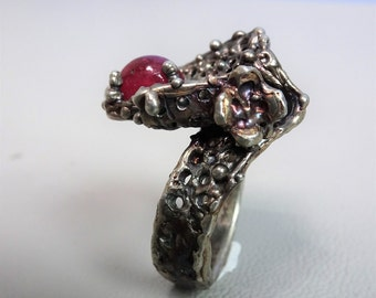 Unique Chunky Silver ring with gemstone Ruby  925 sterling silver ring with gem stone - organic ring - gemstone ring - gift for woman
