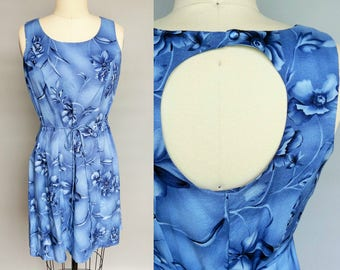 cornflower / sleeveless blue floral dress with cutout back / 4 6 8 xs small