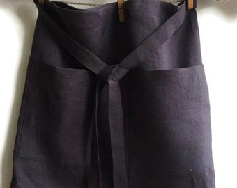 Half Apron With Pockets, Half Apron, Dark Linen Half Apron, Cafe Apron, Wide Linen Apron, Hip Apron, Chef Apron, Gift for Mother, Apron