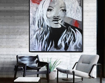 Kate MOSS Painting, Wall Art, Home Office, Portrait Painting, Original Painting, Face Paint, Modern Painting, Hand Painted, Acrylic Painting